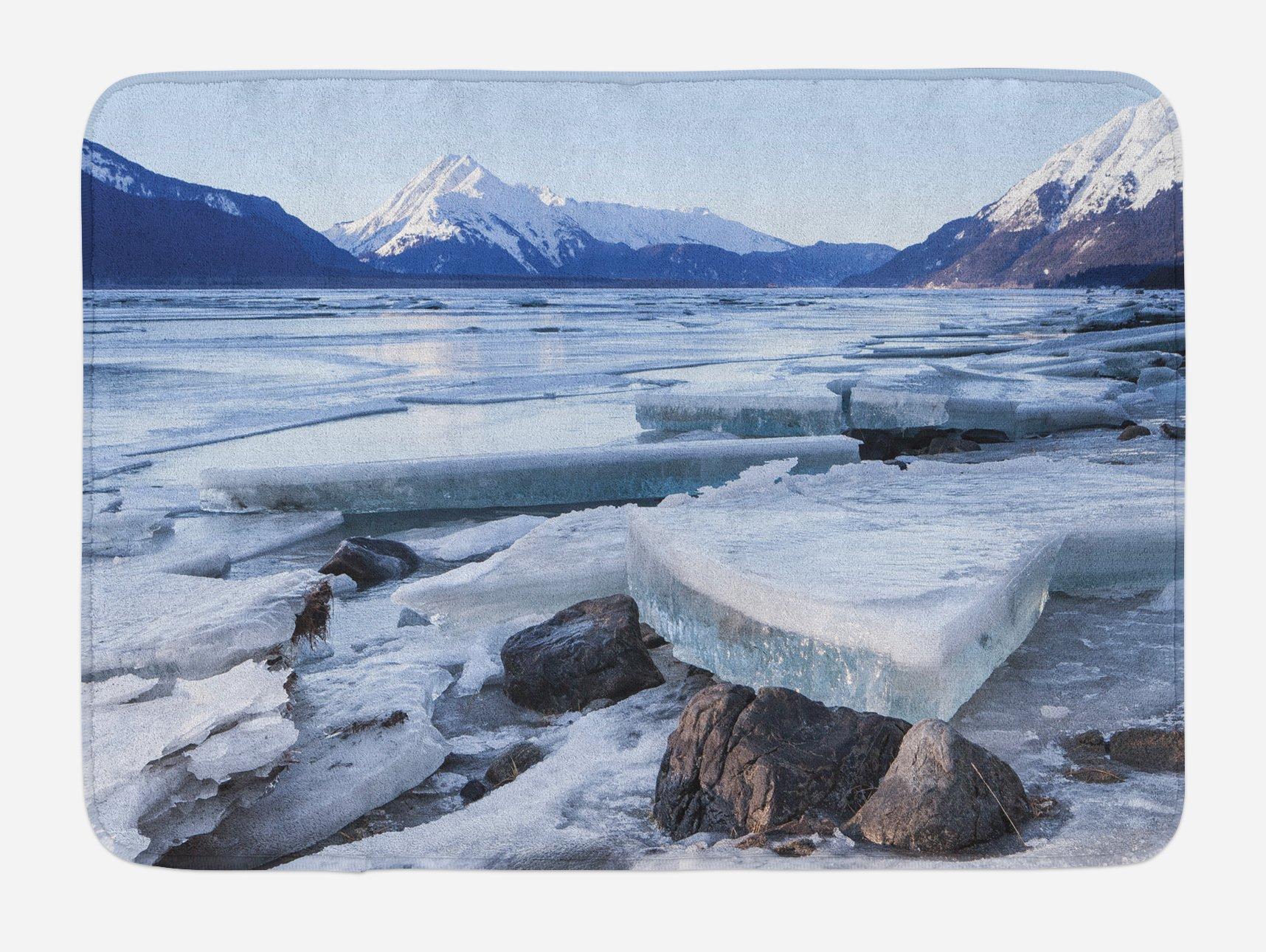 Ambesonne Alaska Bath Mat, Ice Chunks on The Side of Chilkat River in North America Winter Season, Plush Bathroom Decor Mat with Non Slip Backing, 29.5 W X 17.5 W Inches, Seafoam White Sky Blue