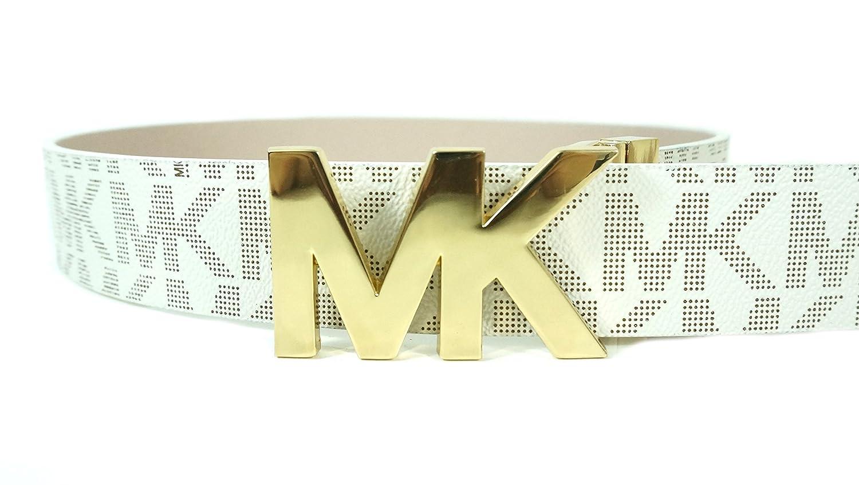 7c4109fe3671 Michael Kors Gold MK Logo Womens Belt Reversible Vanilla White Pink Size M   Amazon.co.uk  Clothing