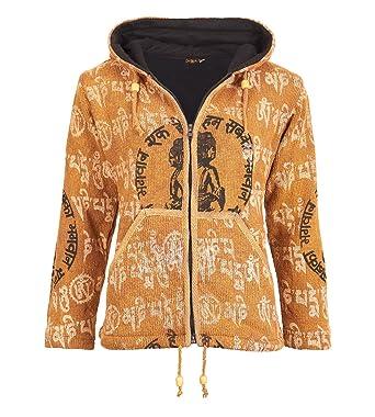 502e3806179c Strickjacke aus Baumwolle für Damen mit Zipfelkapuze Mantra OM Hippie Jacke  Goa  Amazon.de  Bekleidung