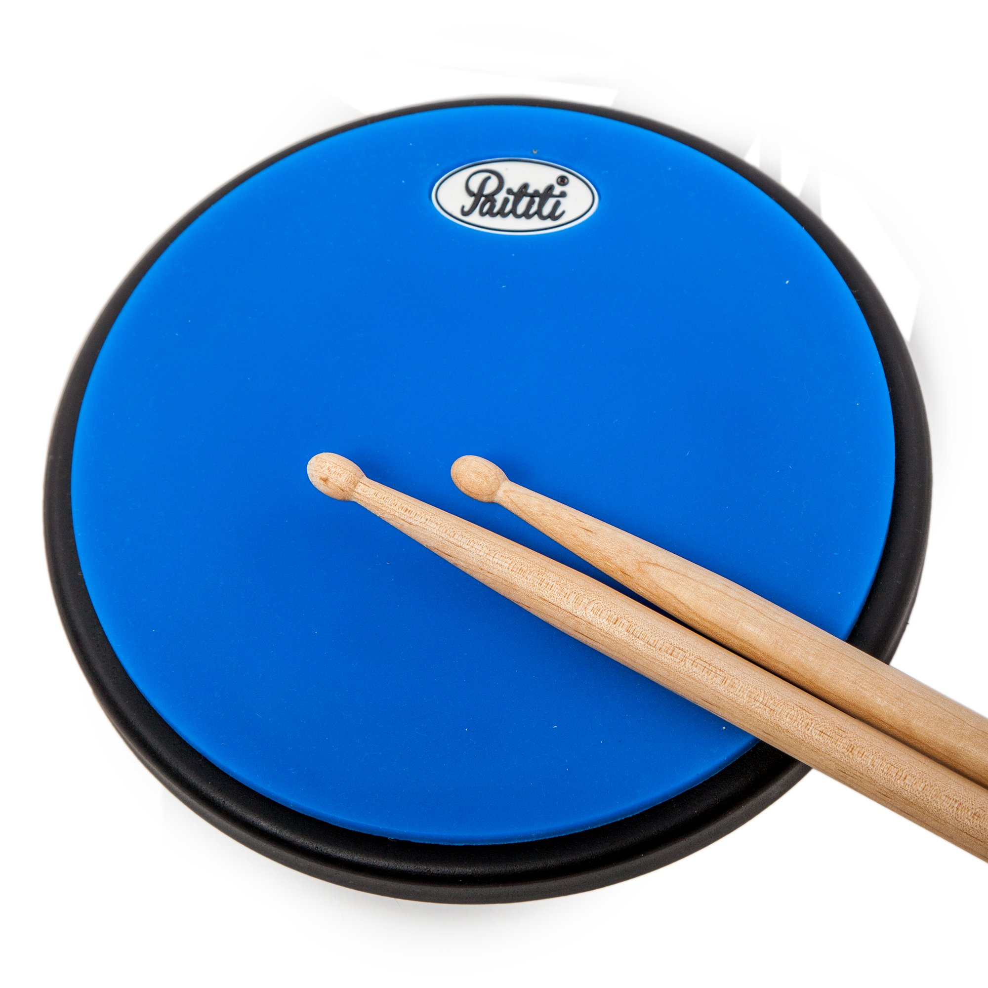PAITITI 10 Inch Silent Portable Practice Drum Pad Round Shape with Carrying Bag Blue Color