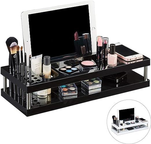 Relaxdays Organizador de Maquillaje, Compartimento para Tablet y ...