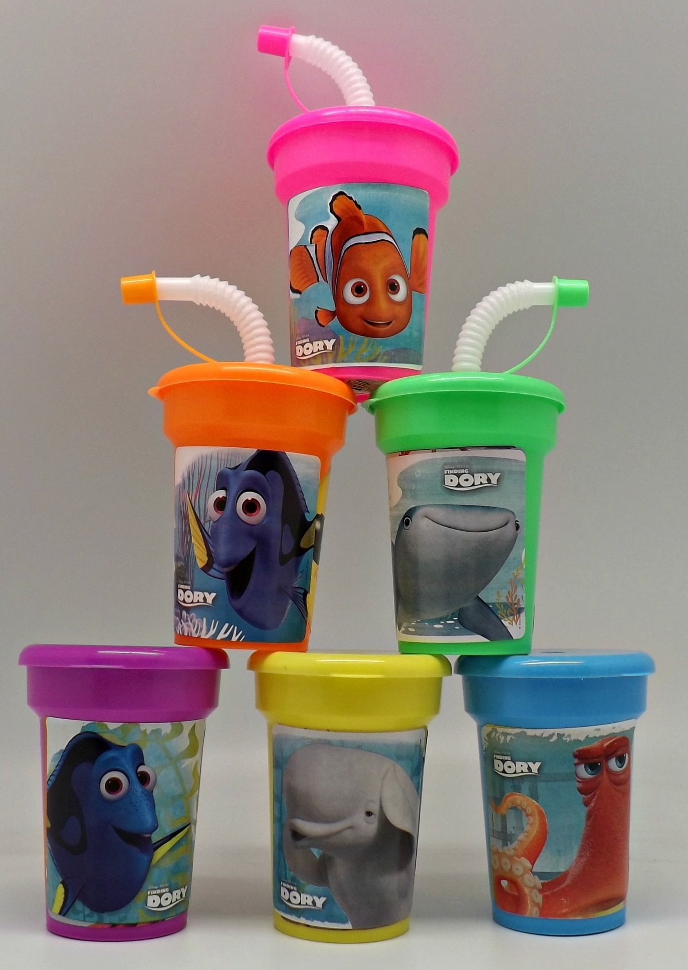 6 Disney Finding Dory Stickers Birthday Sipper Cups with lids Party Favor Cups Nemo