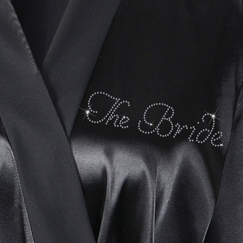 Kimono Personalisierbarer luxuri/öser Satin-Bademantel /& Tasche mit Aufschrift aus Kristallsteinen f/ür die Braut Set 2 elfenbeinfarben die Hochzeit