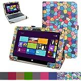 """iRULU Walknbook 2S / W3 Custodia,Mama Mouth slim sottile di peso leggero con supporto in Piedi caso Case per 10.1"""" Walknbook 2S Notebook/Tablet (W3)2-in-1 Windows 10 Tablet PC,Stained Glass"""