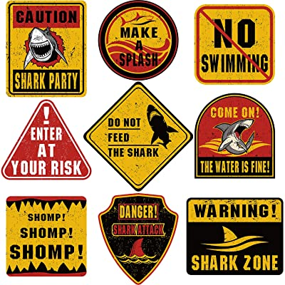 9 Pieces Shark Zone Party Decorations Big Size Shark Theme Party Wall Decor Signs for Birthday Party Ocean Shark Theme Party Supplies: Toys & Games
