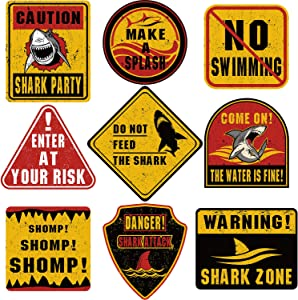 9 Pieces Shark Zone Party Decorations Big Size Shark Theme Party Wall Decor Signs for Birthday Party Ocean Shark Theme Party Supplies