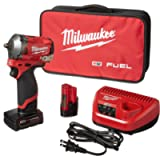 Milwaukee 2554-22 M12 FUEL 12-Volt Lithium-Ion Brushless Cordless Stubby 3/8 in. Impact Wrench Kit with One 4.0 and One…