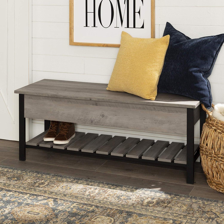 Amazon Com Walker Edison Julian Rustic Farmhouse Lift Top Entry Bench With Bottom Rack 48 Inch Grey Furniture Decor
