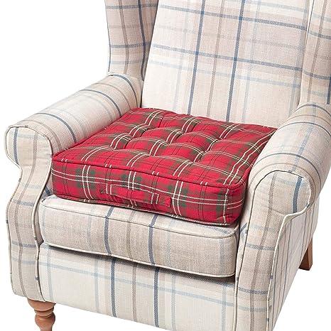Homescapes Cojín Elevador para sillón, Relleno de poliéster y tapizado en 100% algodón, 50 x 50 x 10 cm, patrón escocés Rojo