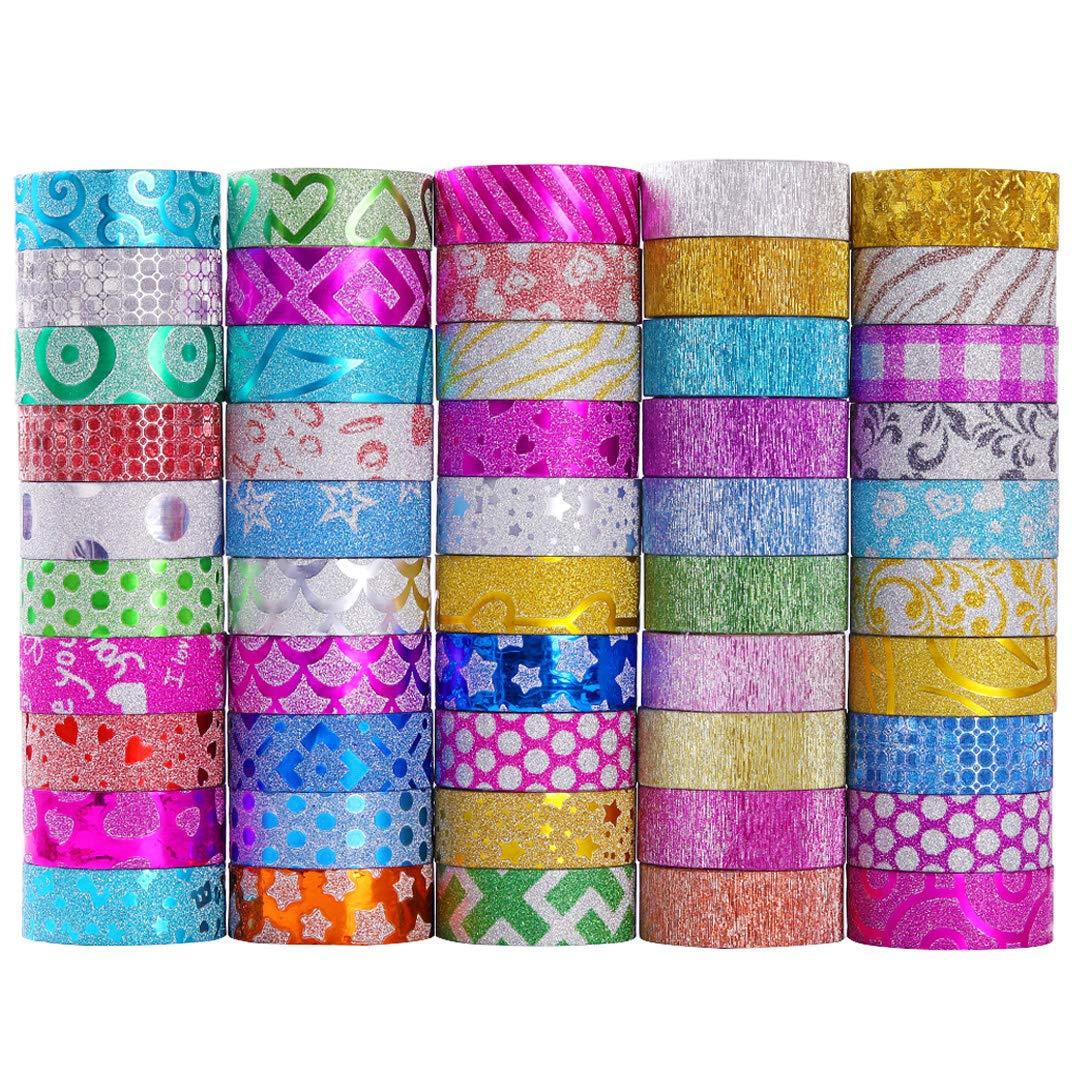 50 rolls cintas adhesivas con glitter (3m largo cada  (Q95L)