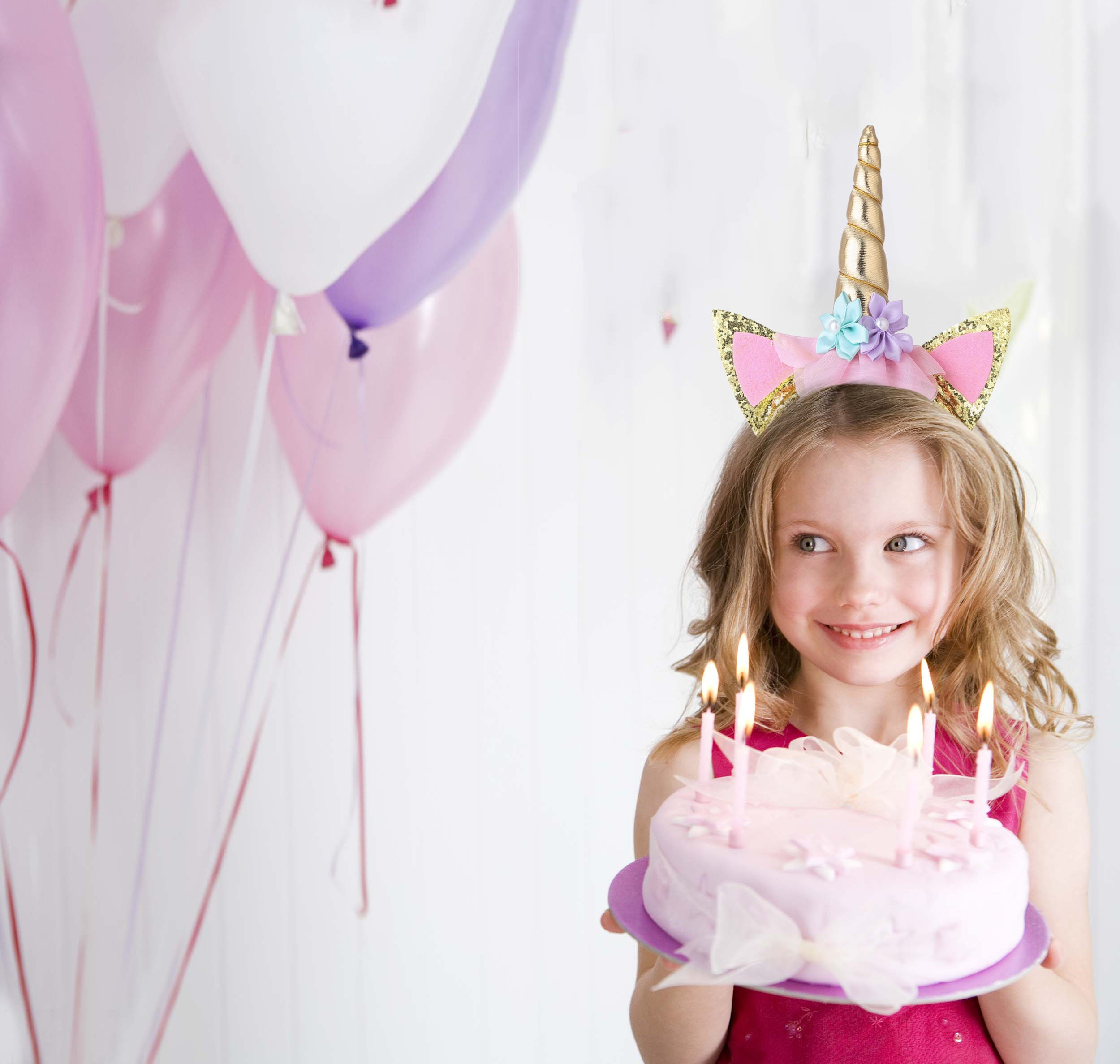 Cooper Fun Unicorn Birthday Set of Gold Glitter Unicorn Headband Pink Satin Sash for Happy Birthday Unicorn Party… 4