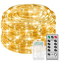 Amazon.com deals on Minger 33-Ft Warm White Rope Lights with Remote Control