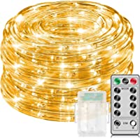 MINGER 33Ft Warm White Rope Lights with Remote Control, Waterproof 8 Mode/Timer Copper Wire String Lights for Christmas, Holiday, Party, Decoration