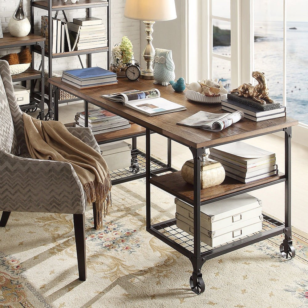 Amazon.com: TRIBECCA HOME Nelson Industrial Modern Rustic Storage Desk:  Kitchen & Dining