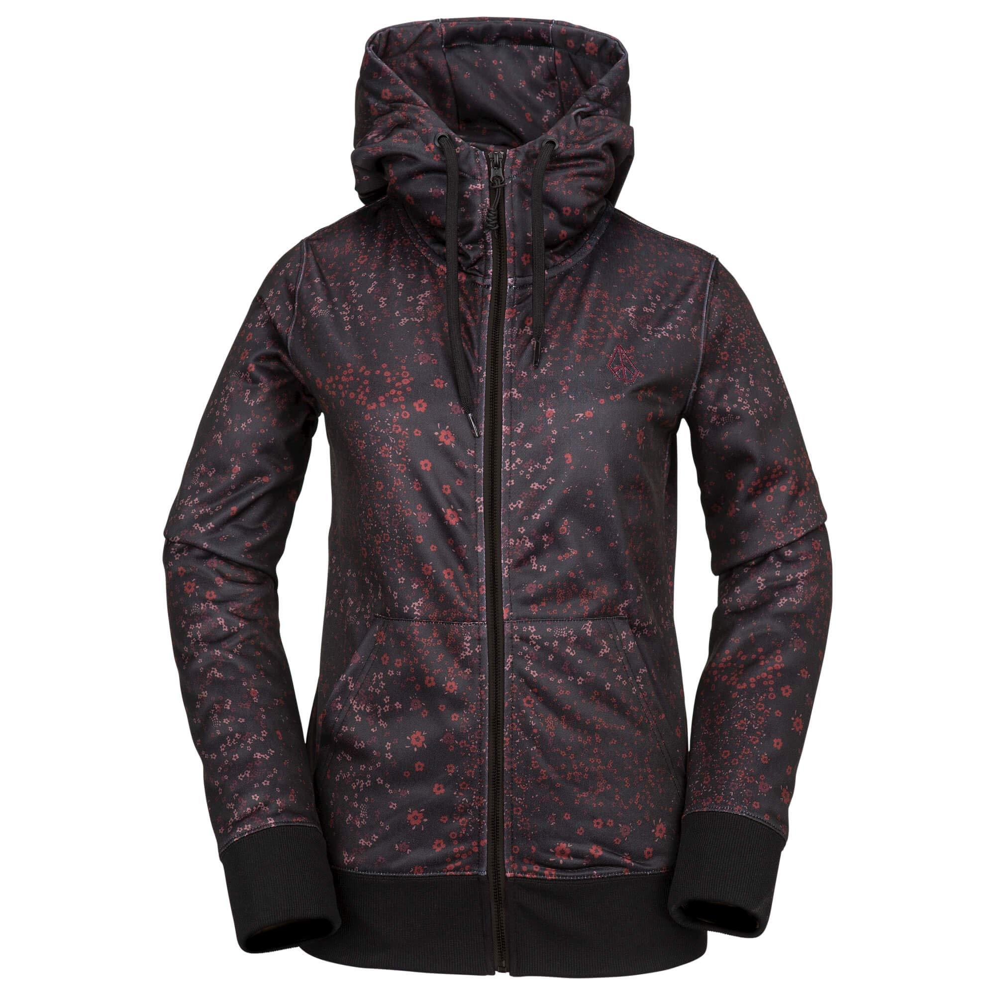 Volcom Women's Cascara Baselayer Hydrophobic Fleece Hooded Sweatshirt, Black Floral Print, Extra Large