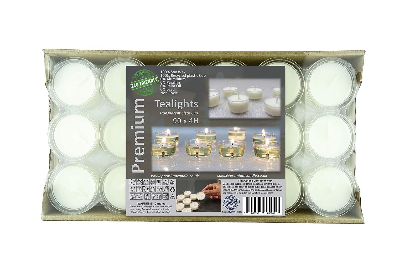 Premium 4+ heures de temps de combustion longue paquet de 90 en transparentes tasse lumières respectueux de l'environnement Bougies chauffe-plat Non parfumées lumières de la nuit Bougies de grande qualité Blanc Cire de Soja
