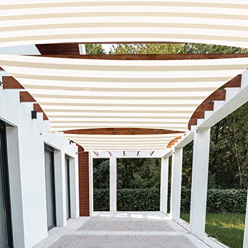 Patio Paradise 9' x 20' FT Beige White Stripes Sun Shade Sail Rectangle Canopy 180 GSM Permeable Canopy Pergolas Top Cover UV Block Fabric Durable Outdoor Customized Available - the best shade sail for the money