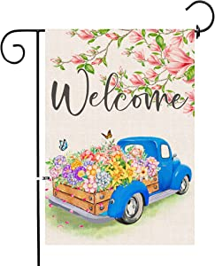 Pinata Spring Garden Flag 12 X 18 Double Sided, Small Welcome Banner Floral Yard Flag Spring and Summer Burlap Magnolia Tree Flower Decor, Blue Truck Seasonal Outdoor Flags Cute Farmhouse Spring Decor