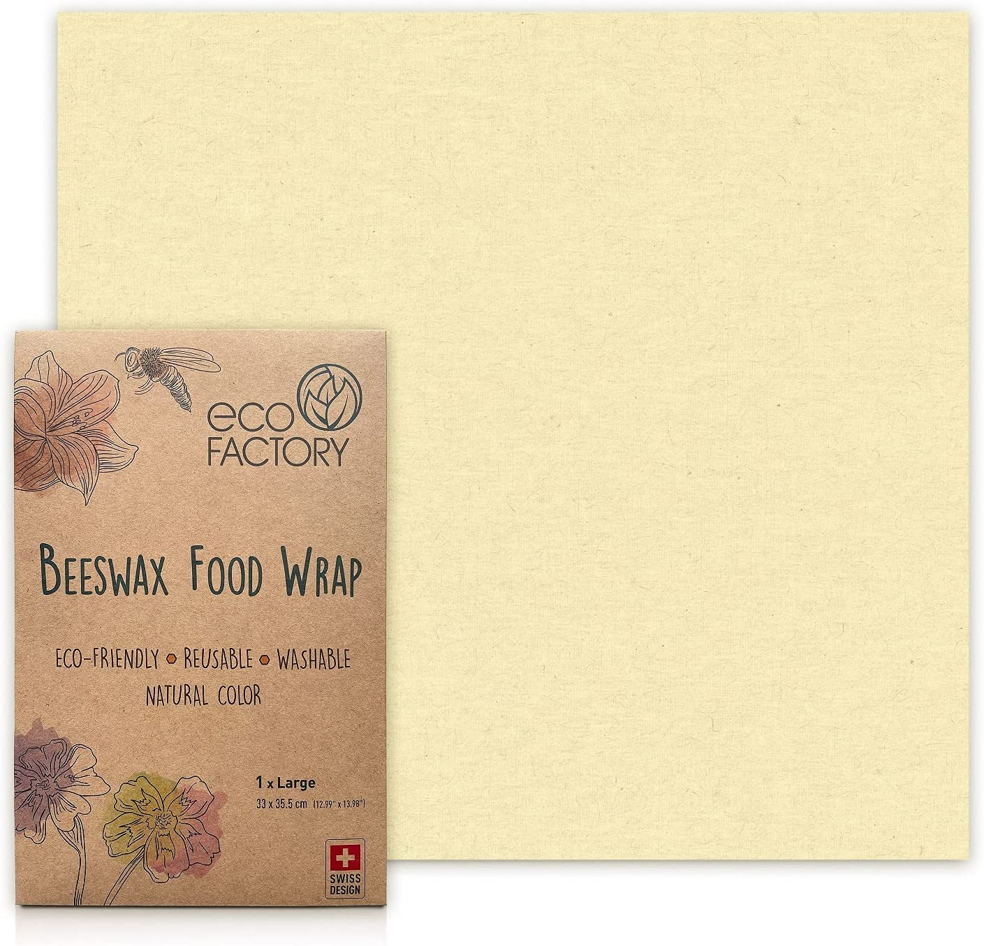 ECO FACTORY Beeswax Food Wrap - All-Natural Large Wrap for Food Storage - Wax Wrap - Bowl Cover - Beeswax Paper - Organic, Reusable, Washable and Sustainable - Certified - Designed in Switzerland