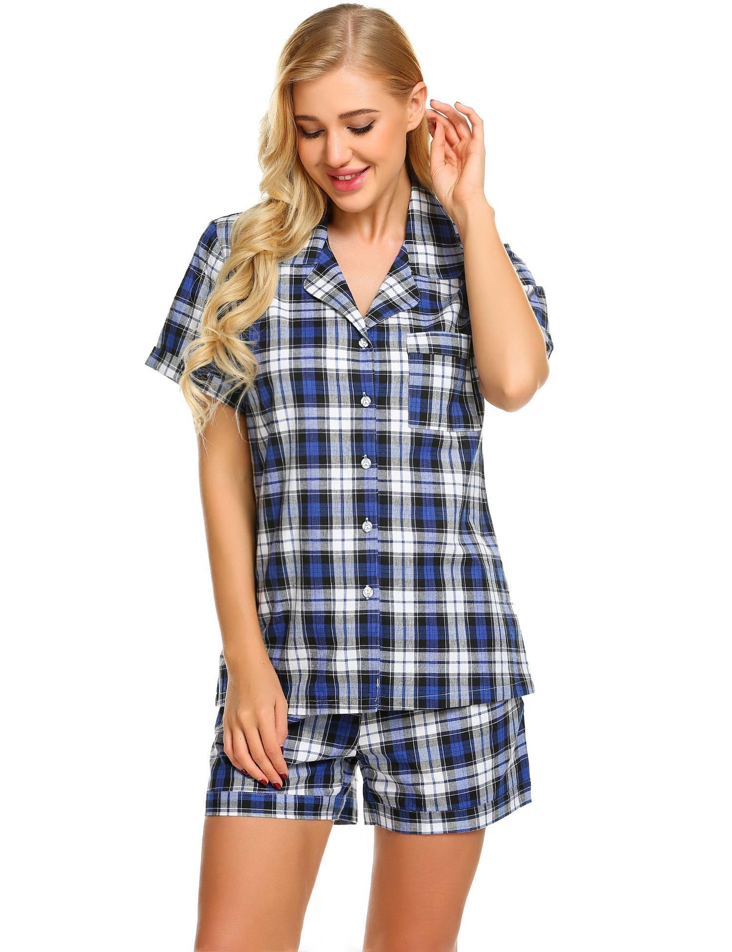 Skylin Womens Short Sleeve Cotton Pajamas Set Button Down Sleepwear Two  Piece PJ Set (Blue e181ca10a