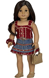 726339ff309d Diana Collection Burgundy Eyelet Top with Denim Skirt. Complete Outfit with  Sandals. Fits 18