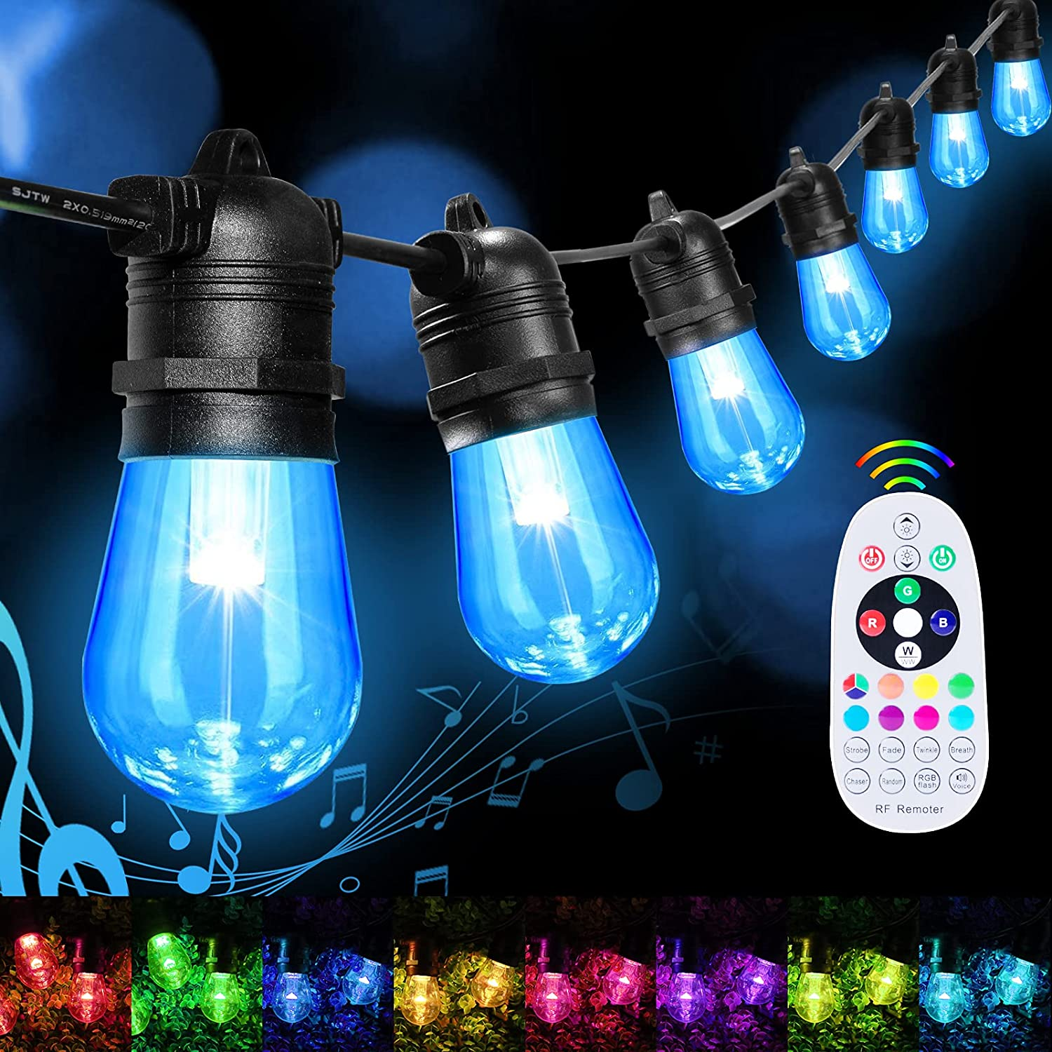 Color Changing String Lights Outdoor/Indoor - 48FT S14 RGBW LED Patio Lights Music Sync with 15 Sockets Waterproof Hanging Lights Plug in with Dimmer Connectable for Backyard Cafe Hotel Party Decor