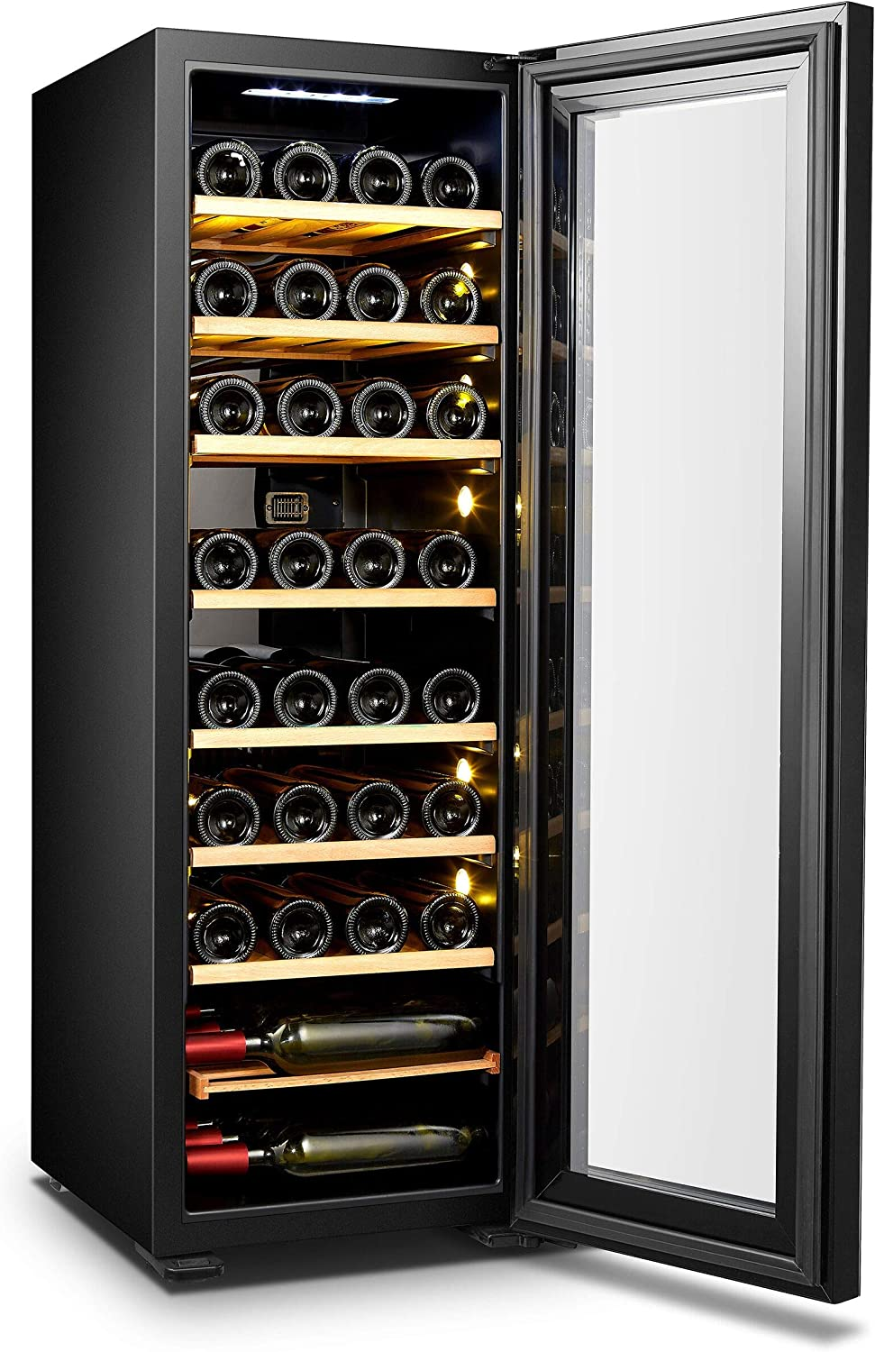 Ice Master Wine Cooler and Drinks Fridge with Wooden Shelves a Tempered Glass Door Interior LED Lights 34 Bottles//116L Capacity Soft Touch Control Panel Metal Cabinet