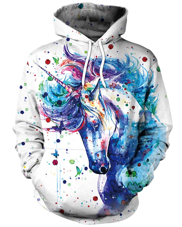 ENLACHIC Unisex Simulation 3D Alpaca Print Galaxy Pocket Hooded Sweatshirt Unicorn S