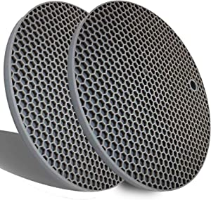 Extra Thick Silicone Trivets Heat Resistant Pot Holder and Oven Mitts,Trivets for Hot Dishes,Nonslip Insulation Honeycomb Rubber Hot Pads for Countertop,Multi-Purpose Mats,2 Pack Silicone (Gray)