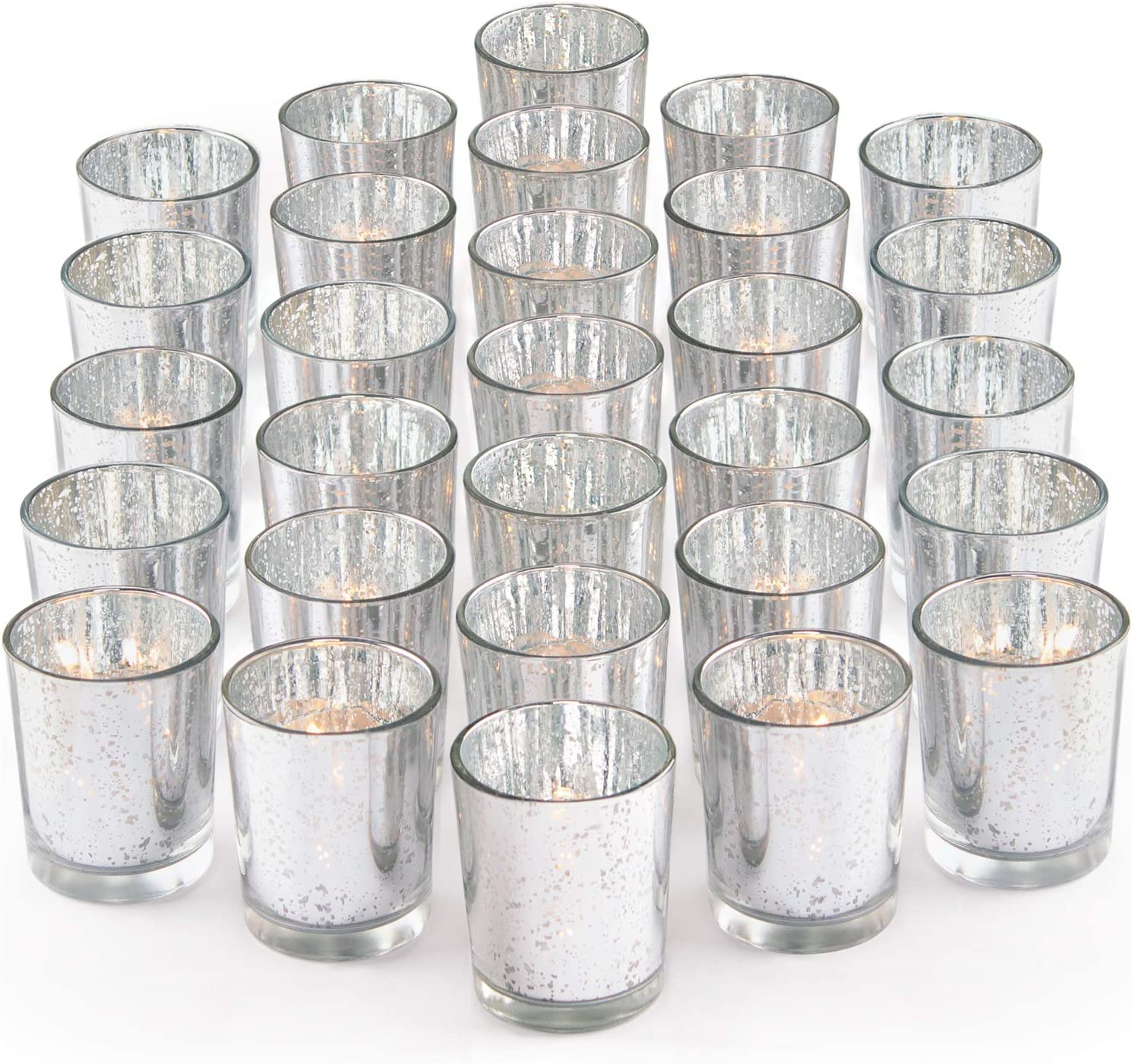 Amazon Com Letine Silver Votive Candle Holders Set Of 36 Speckled Mercury Silver Glass Candle Holder Bulk Ideal For Wedding Centerpieces Home Decor Kitchen Dining