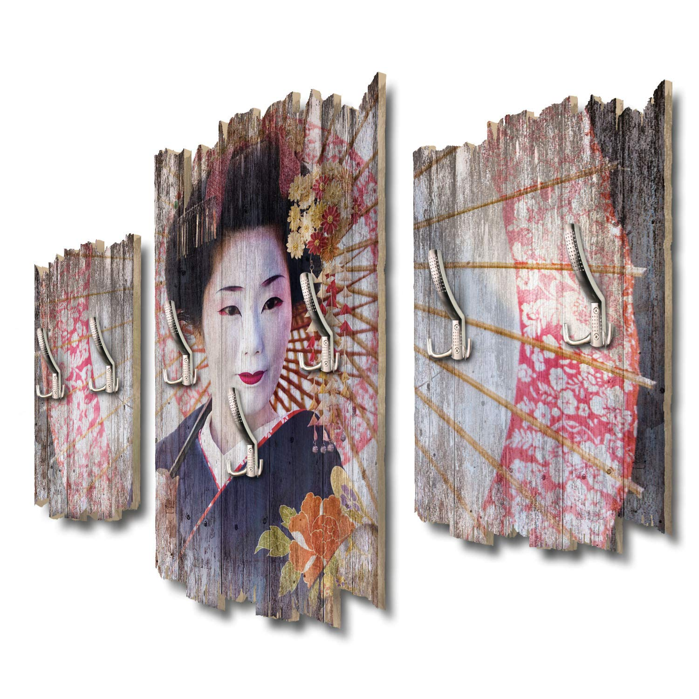 Kreative Feder Geisha Designer Wandgarderobe Flurgarderobe Wandpaneele 95 x 60 cm aus MDF DTGH054