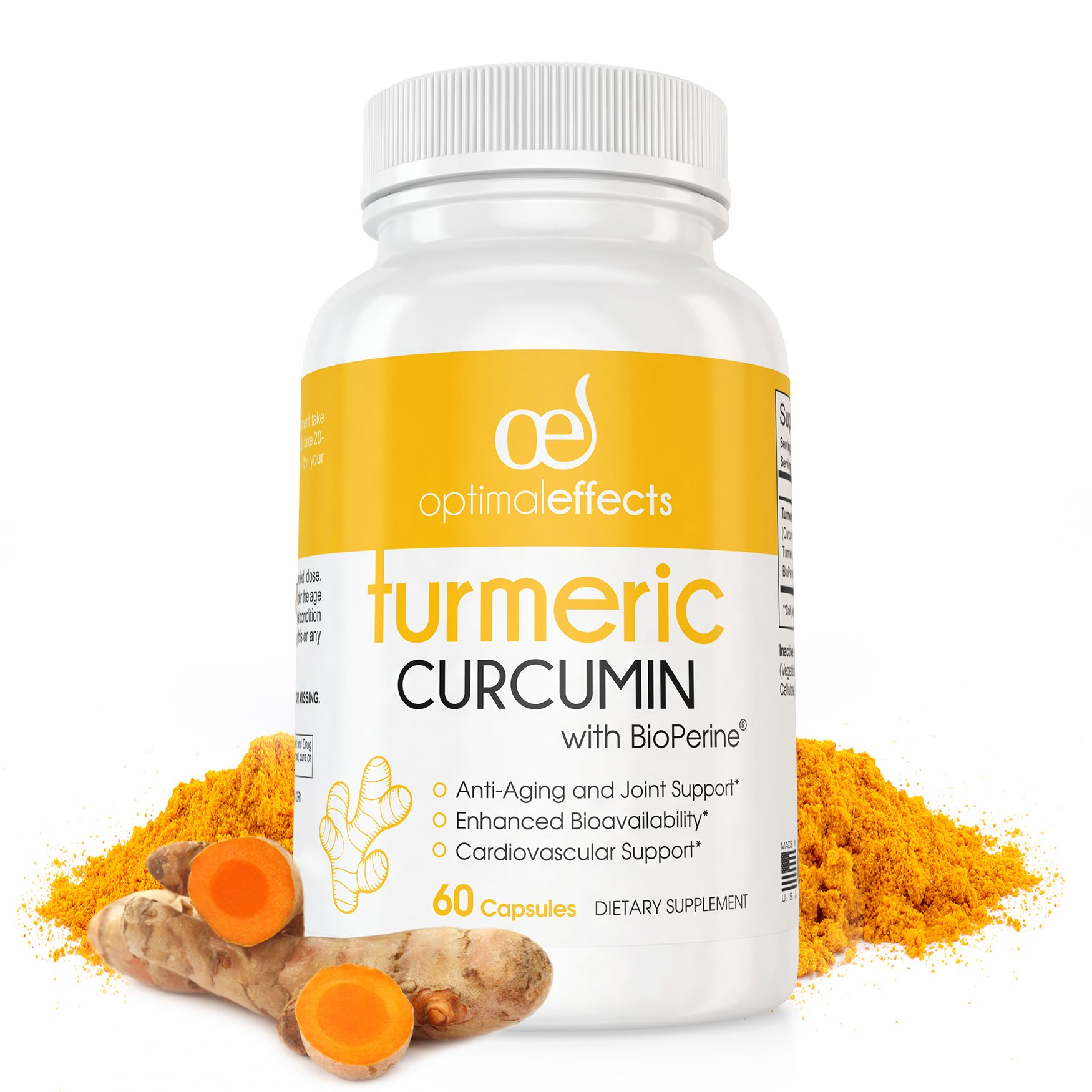 Turmeric Curcumin with Bioperine by Optimal Effects - Natural Black Pepper Antioxidant for Joint and Mobility Support - 95% Curcuminoids - 60 Veggie Capsules