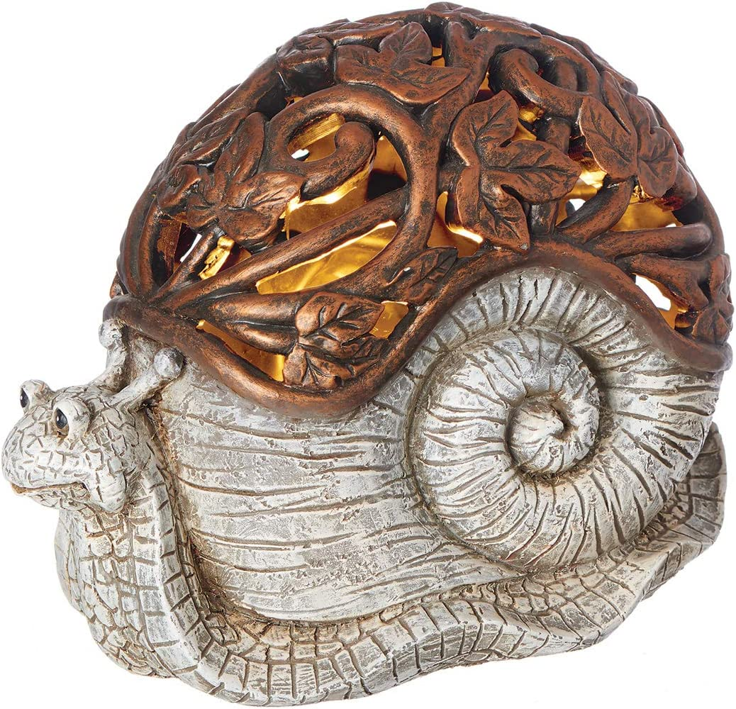 Roman Garden - Bronze Lighted Snail Statue, 6.5H, Pudgy Pals Collection, Resin and Stone, Decorative, Garden Gift, Home Outdoor Decor, Durable, Long Lasting
