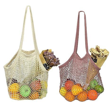 Amazon.com: Yarachel Bolsa de la compra de red de algodón ...