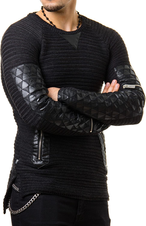 con inserti in similpelle e cerniera colori: Antracite//Grigio oversize Redbridge/ /pullover da uomo lavorato a maglia lungo M3009