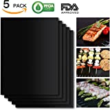 BBQ Grill Mat Set of 5, Non-Stick BBQ Grill & Baking Mats, SHINE HAI PFOA Free, Reusable and Easy to Clean, BBQ Accessories for Gas, Charcoal, Electric Grill and More- 15.75 x 13 Inch