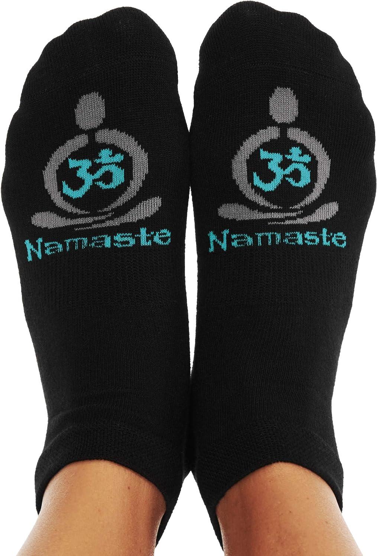 つま先Talk NAMASTEノンスリップグリップソックスヨガの瞑想& Tai Chi 黒 With Meditator and Om Symbol in Spirited Teal Hues L