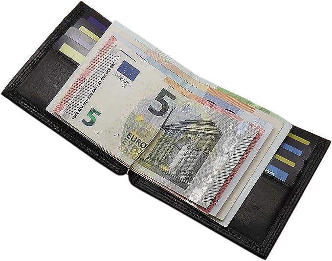 Dollarclip mit Münzfach Rindleder Portemonnaie Geldscheinspange Geldklammer