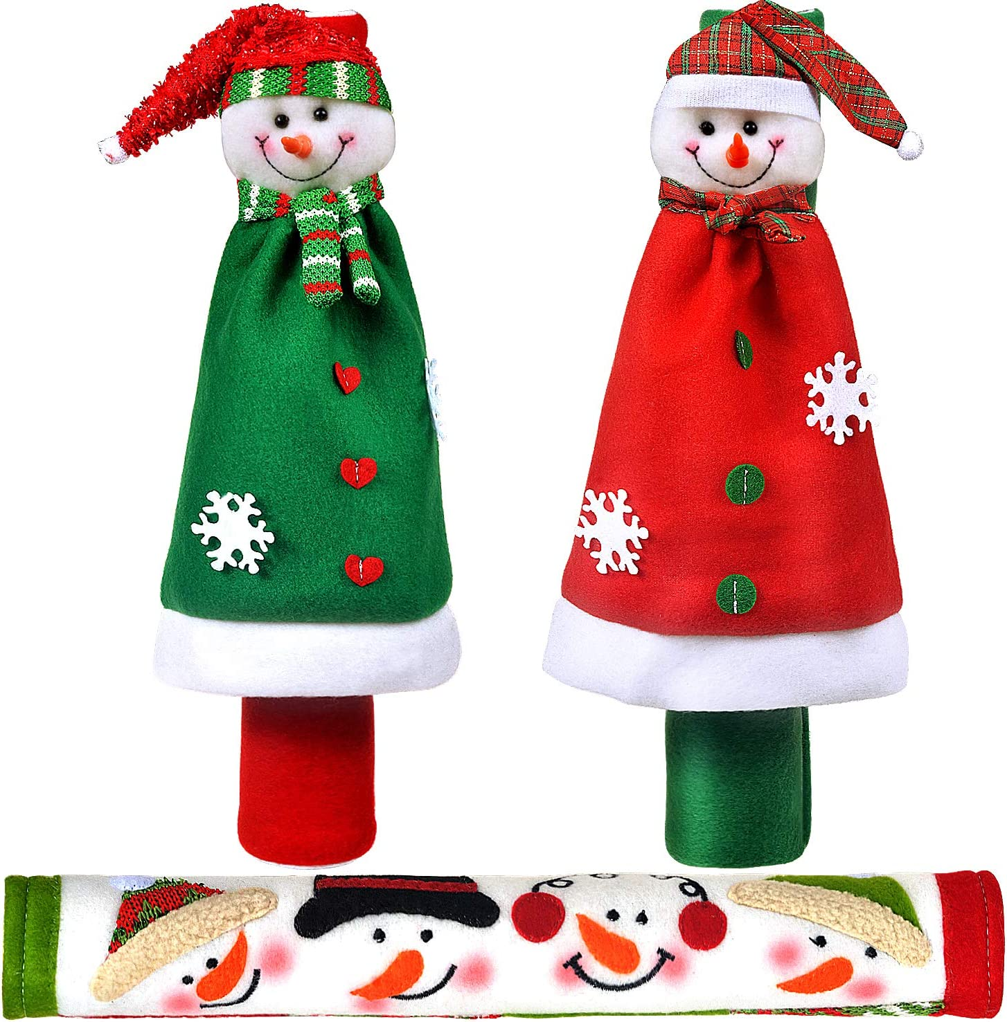 Vezfinel Kitchen Appliance Snowman Handle Covers, Christmas Home Decorations Set for Holiday Idea Gifts,Refrigerator Microwave Oven or Dishwasher Xmas Decor (3 Pack)