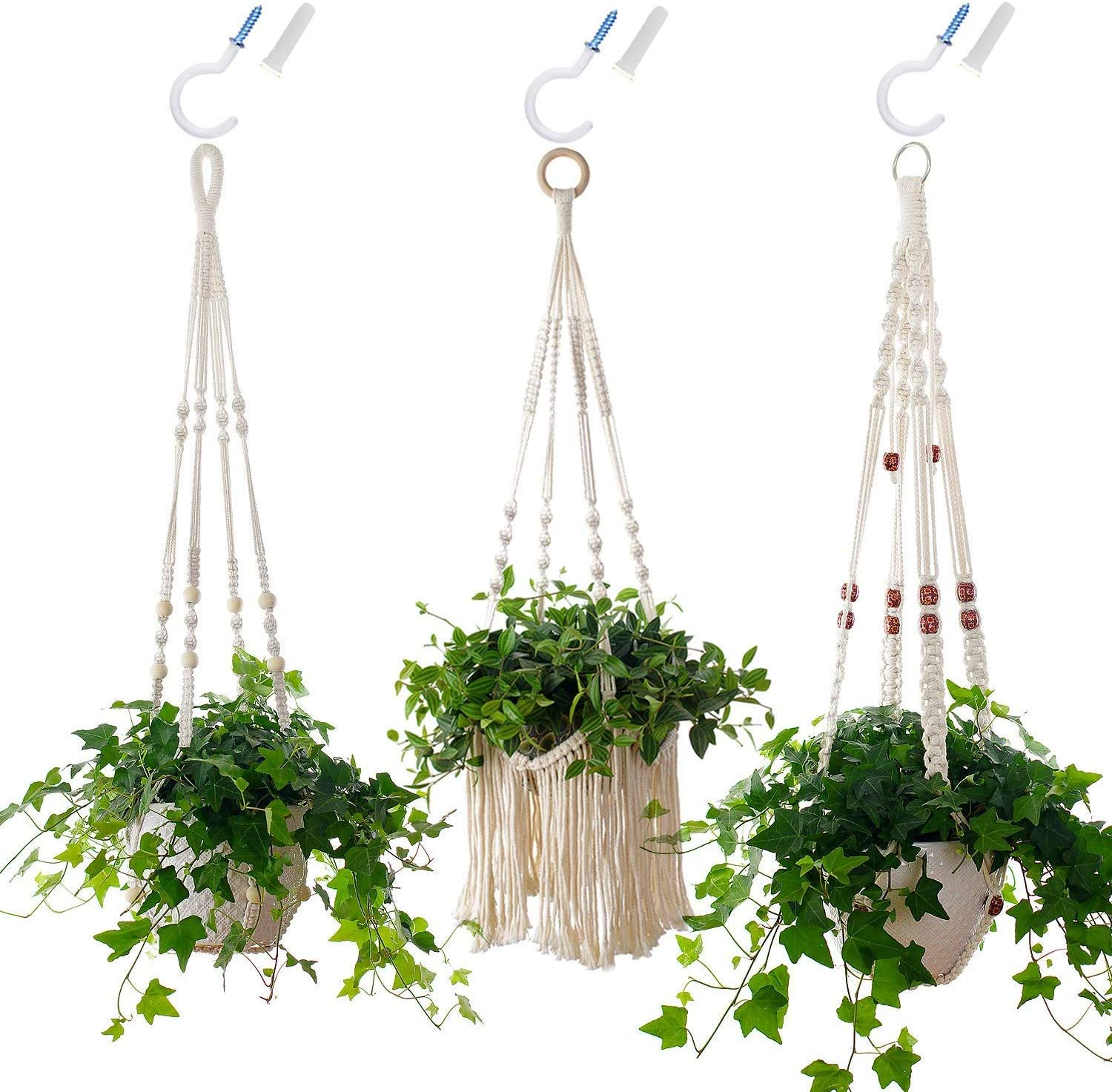 3-Piece Macrame Plant Hangers with 3 Pack Hooks – Hanging Flower Pot Planter Holder for Indoor Plants, Boho Bohemian Home Decor