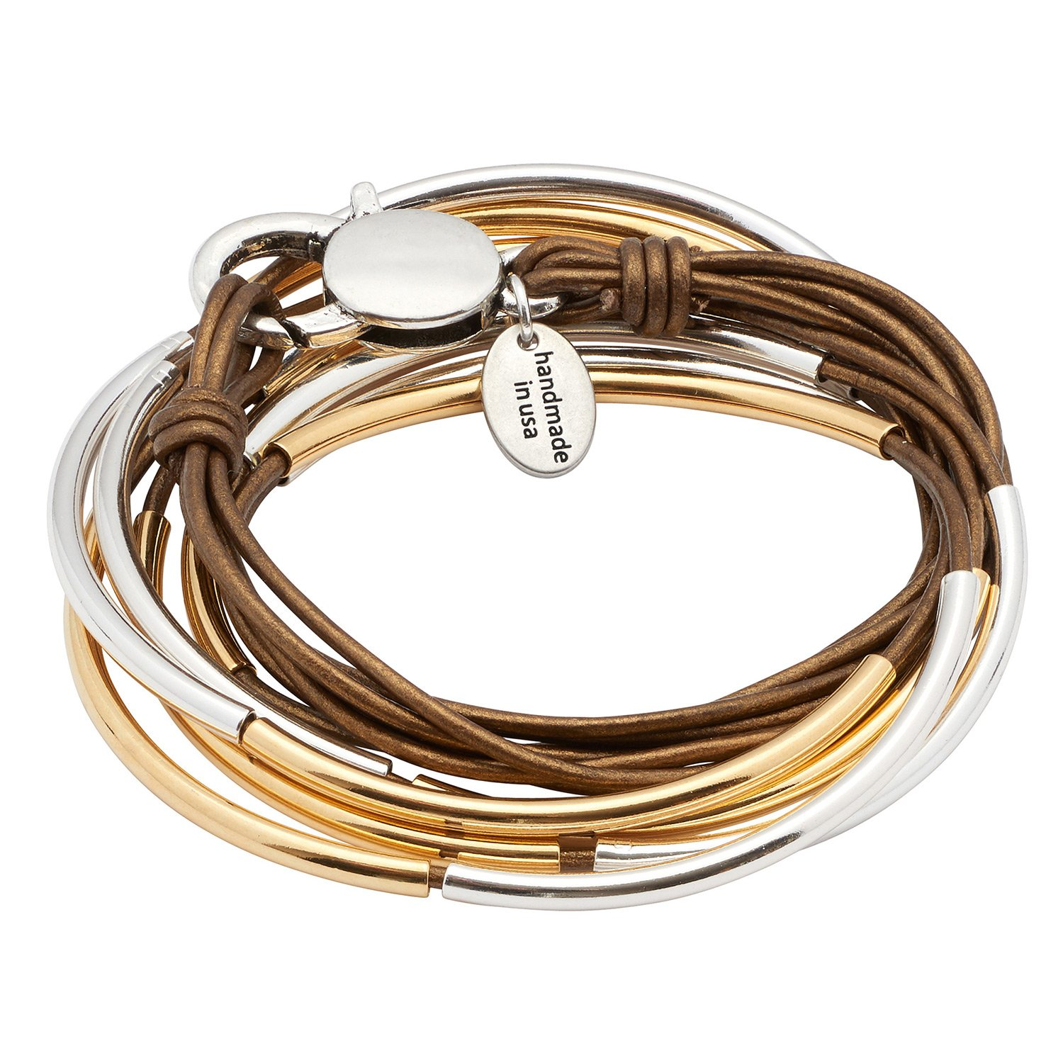 Lizzy Classic Gold & Silver 4 Strand Metallic Bronze Leather Wrap Bracelet (SMALL)