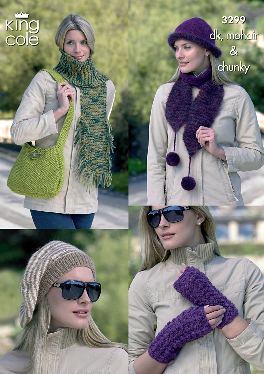 King Cole Womens Double Knit & Chunky Knitting Pattern Ladies Hats Scarves Bag Wrist Warmers (3299)