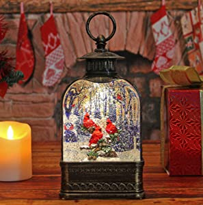 Beautiful Christmas Perching Cardinal Snow Globe Lantern Water LED Table Top Decor Holiday Cardinal Snow Globe with Swirling Glitter