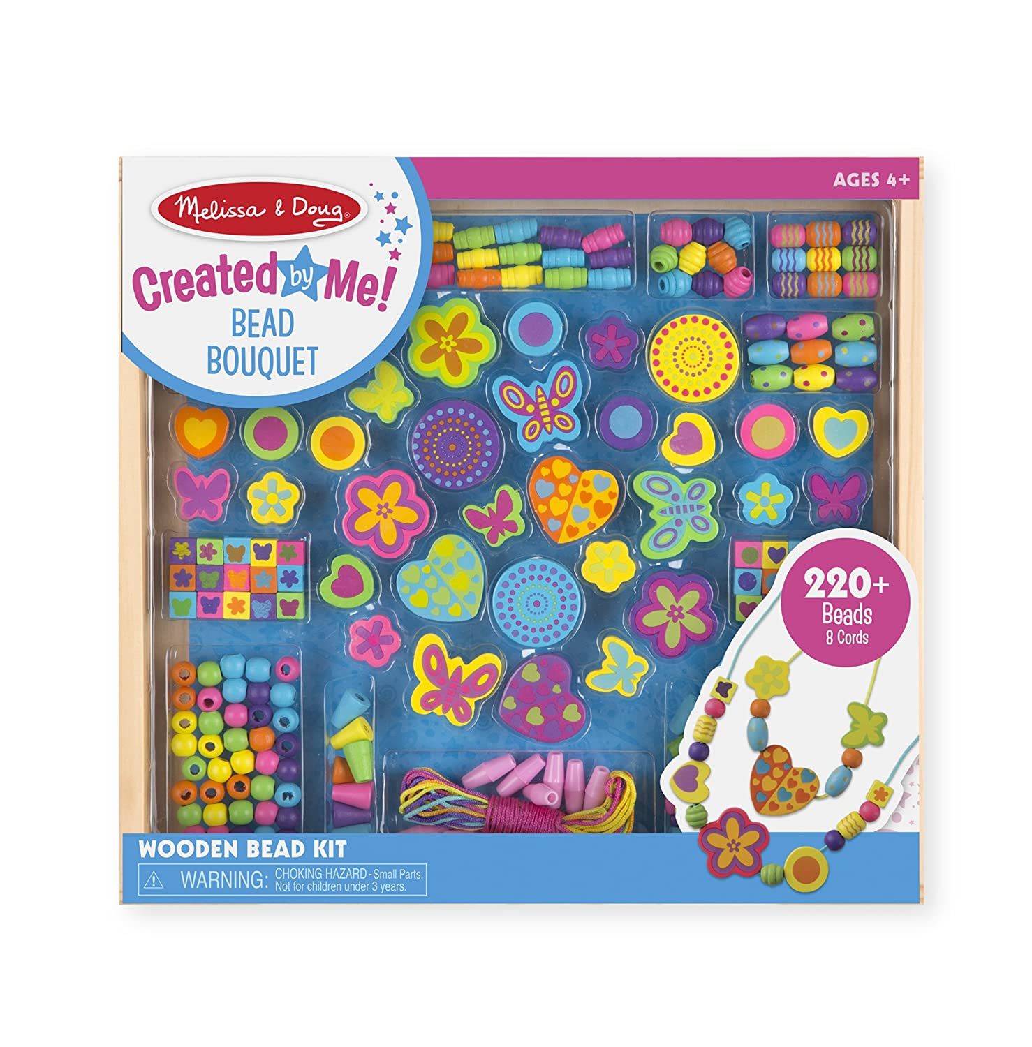 Melissa & Doug Bead Bouquet Deluxe Wooden Bead Set With 220+ Beads for Jewelry-Making 4169