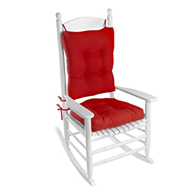 Klear Vu Indoor/Outdoor Rocking Chair Pad Set, 20.5 x 19 x 3 inches, Red: Home & Kitchen