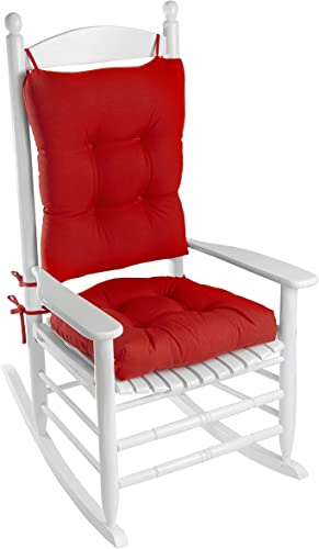 Klear Vu Indoor Outdoor Overstuffed Rocking Chair Pad Cushion Set, 19 x 19 , 20.5 x 19 x 3 inches, Red