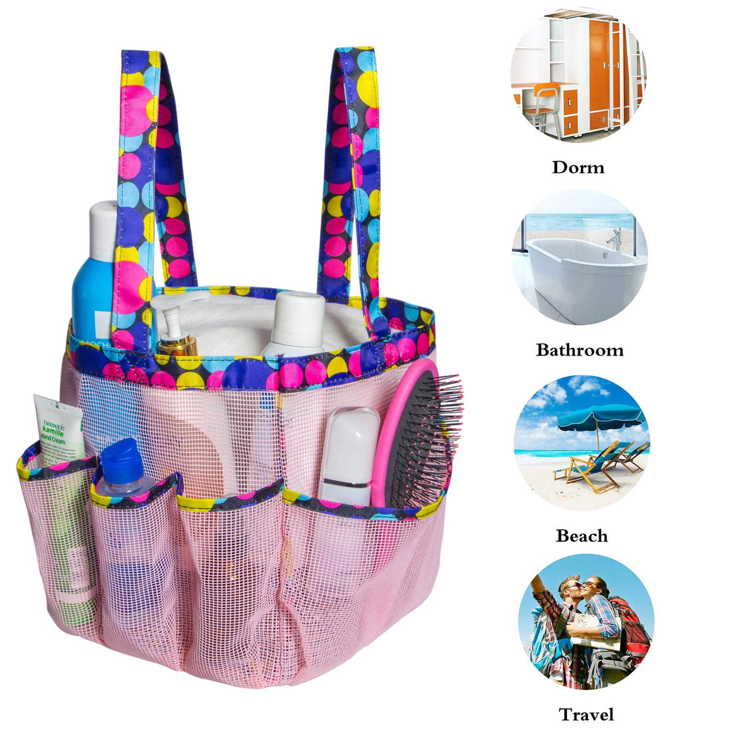Attmu Portable Mesh Shower Caddy with 8 Storage Pockets Black and White Spot Quick Dry Waterproof Shower Tote Bag Oxford Hanging Toiletry and Bath Organizer for Shampoo