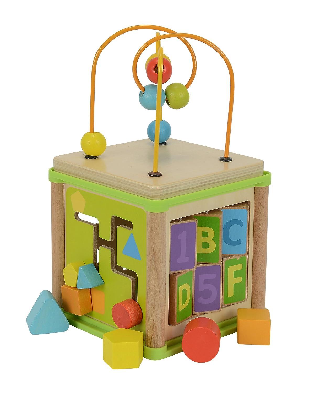 con fiocco motorizzato gioco di incastro legno di tiglio Eichhorn 100003713 15,5 x 15,5 x 29,5 cm gioco di smistamento e 4 mattoncini Piccolo centro di gioco
