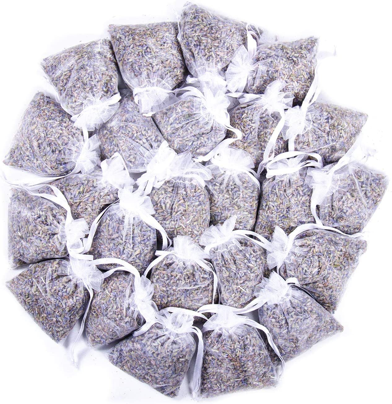 French Lavender Sachets for Drawers and Closets Fresh Scents, Home Fragrance Sachet, Pack of 24, White