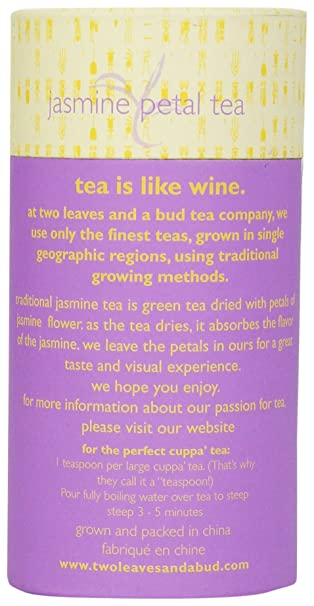 Amazon.com : Two Leaves and a Bud Jasmine Petal Green, Loose Tea Cylinder, 3.5 Ounce : Herbal Teas : Grocery & Gourmet Food